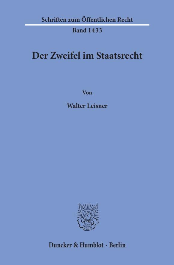 Cover Der Zweifel im Staatsrecht