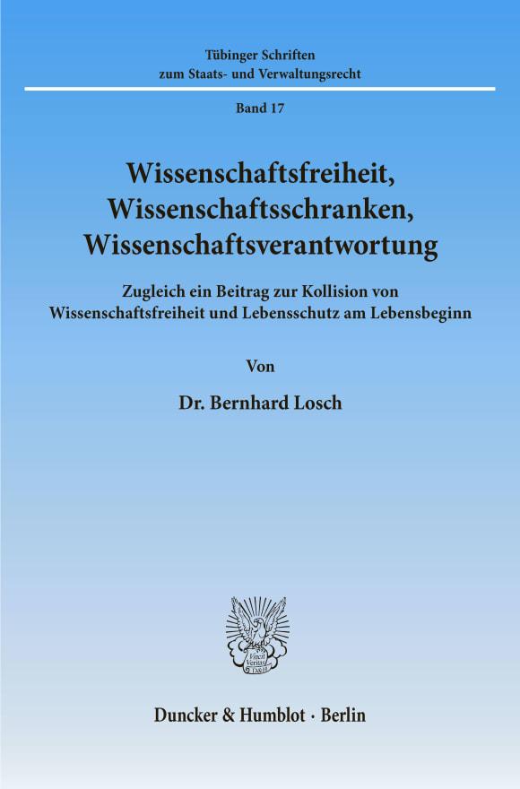 Cover Wissenschaftsfreiheit, Wissenschaftsschranken, Wissenschaftsverantwortung