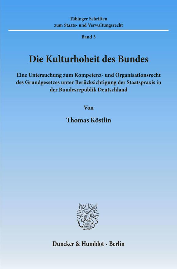 Cover Die Kulturhoheit des Bundes