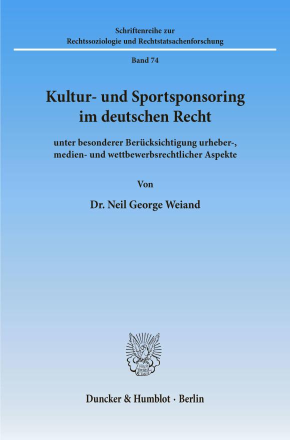 Cover Kultur- und Sportsponsoring im deutschen Recht