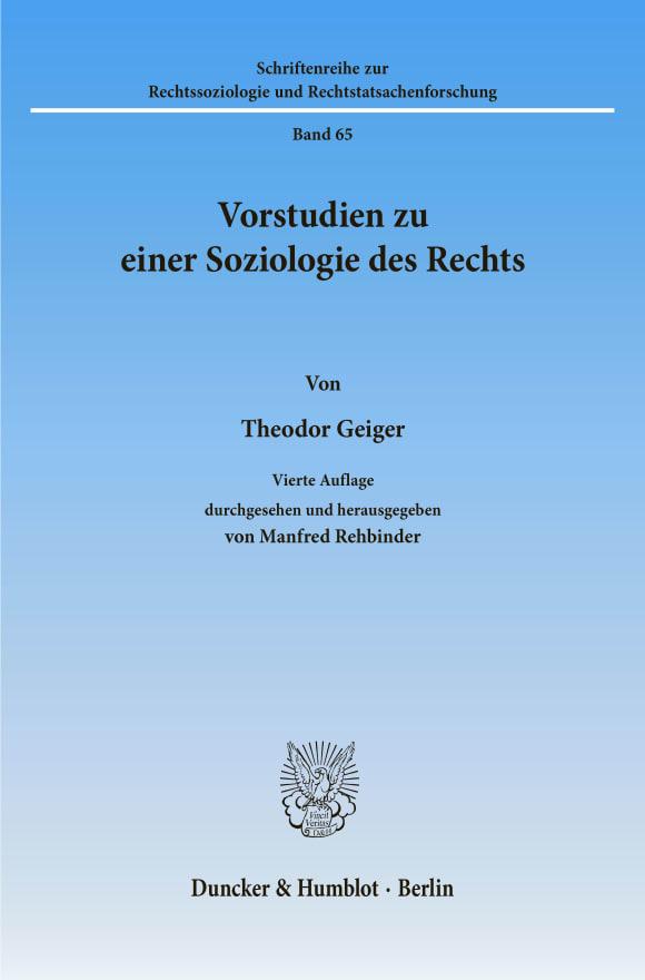 Cover Vorstudien zu einer Soziologie des Rechts