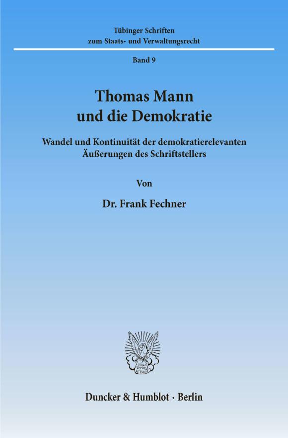 Cover Thomas Mann und die Demokratie