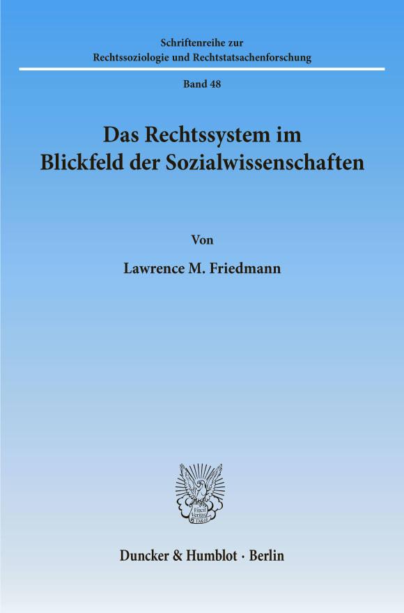 Cover Das Rechtssystem im Blickfeld der Sozialwissenschaften