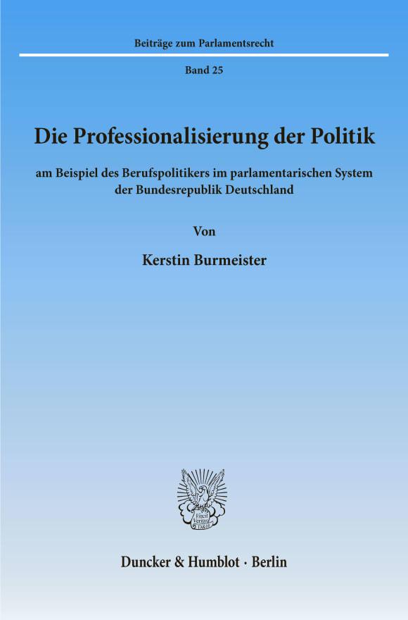 Cover Die Professionalisierung der Politik