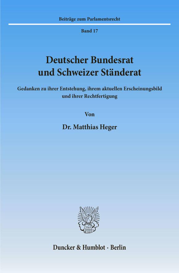Cover Deutscher Bundesrat und Schweizer Ständerat