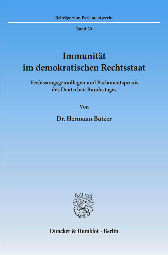 Cover Immunität im demokratischen Rechtsstaat