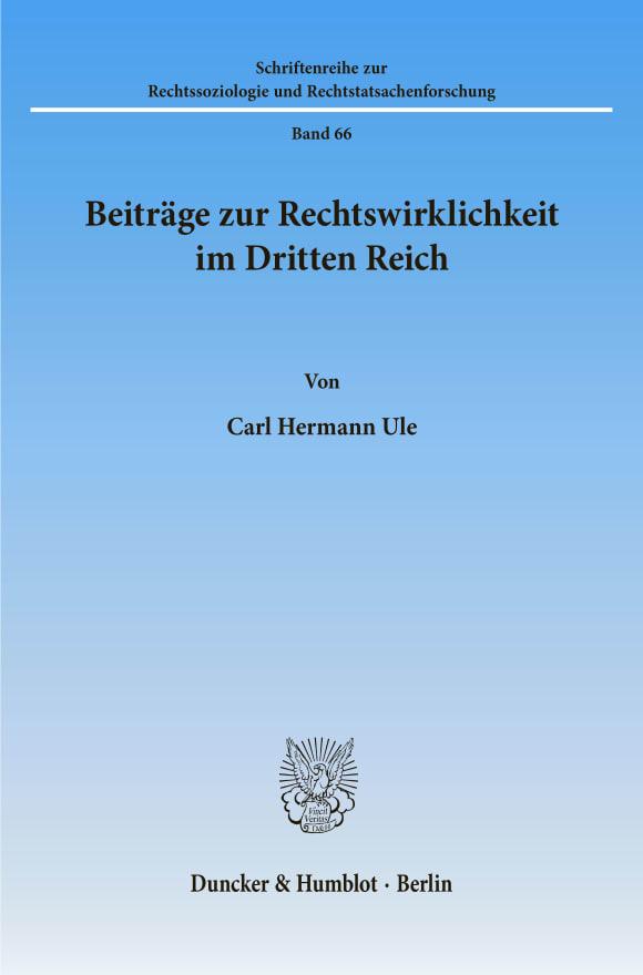 Cover Beiträge zur Rechtswirklichkeit im Dritten Reich