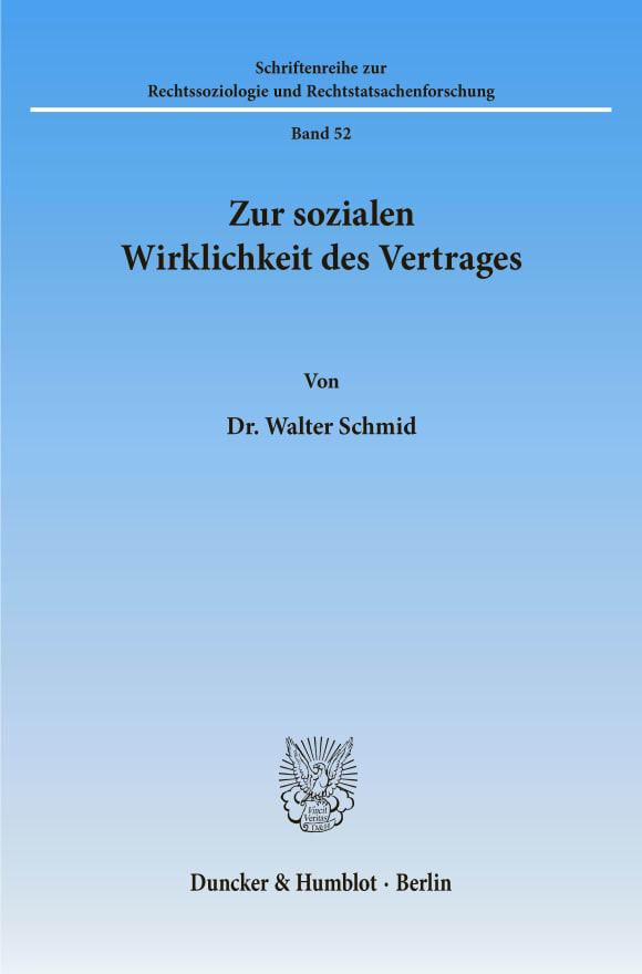Cover Zur sozialen Wirklichkeit des Vertrages