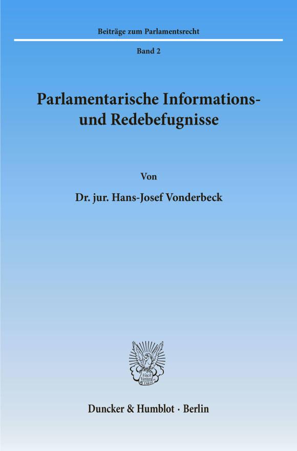 Cover Parlamentarische Informations- und Redebefugnisse