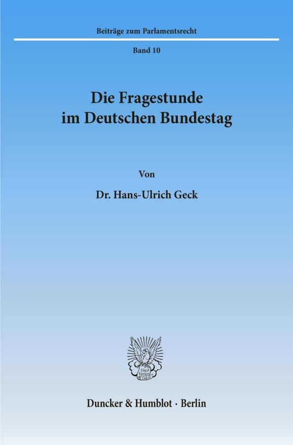 Cover Die Fragestunde im Deutschen Bundestag