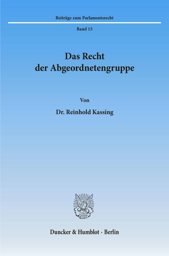Cover Das Recht der Abgeordnetengruppe