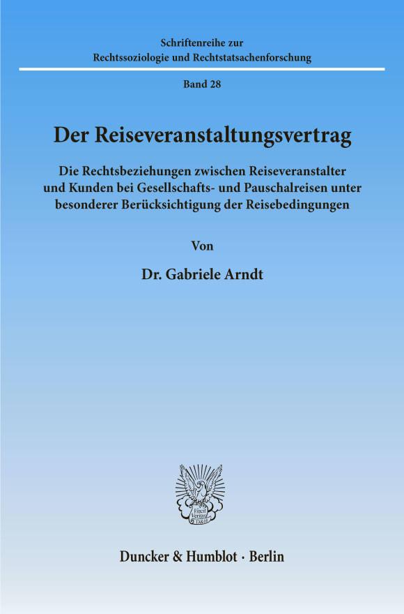 Cover Der Reiseveranstaltungsvertrag
