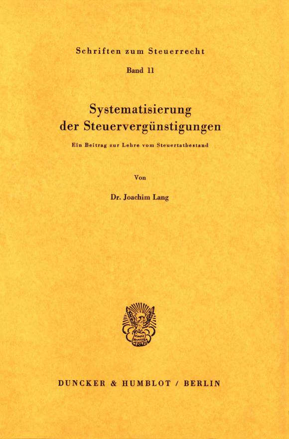 Cover Systematisierung der Steuervergünstigungen