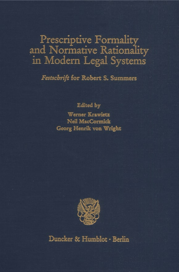 Cover Prescriptive Formality and Normative Rationality in Modern Legal Systems