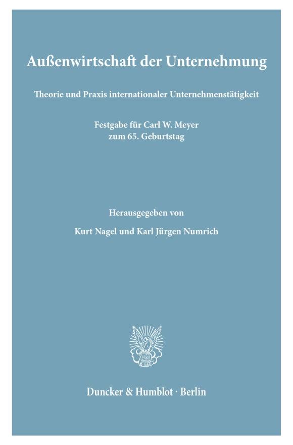 Cover Außenwirtschaft der Unternehmung