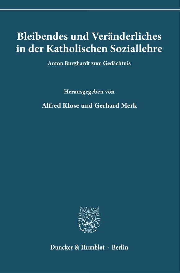 Cover Bleibendes und Veränderliches in der Katholischen Soziallehre