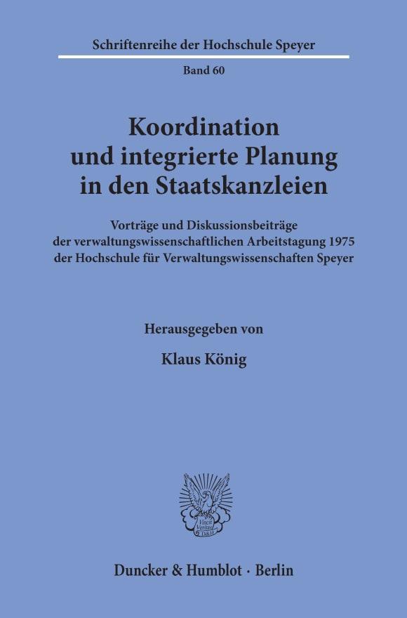 Cover Koordination und integrierte Planung in den Staatskanzleien