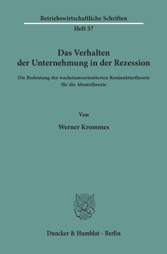 Cover Das Verhalten der Unternehmung in der Rezession