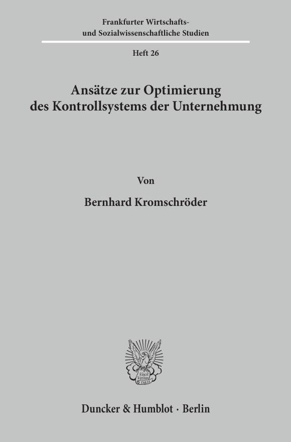 Cover Ansätze zur Optimierung des Kontrollsystems der Unternehmung
