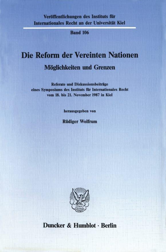 Cover Die Reform der Vereinten Nationen