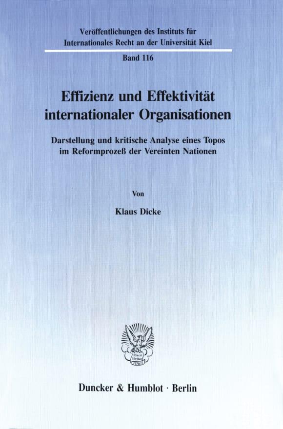 Cover Effizienz und Effektivität internationaler Organisationen