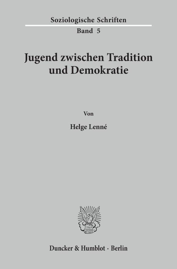 Cover Jugend zwischen Tradition und Demokratie