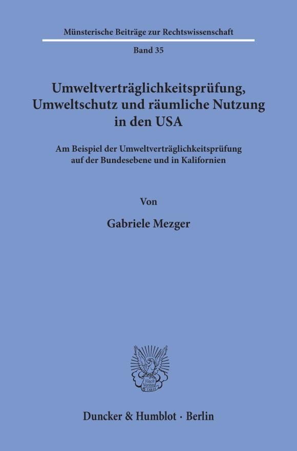 Cover Umweltverträglichkeitsprüfung, Umweltschutz und räumliche Nutzung in den USA