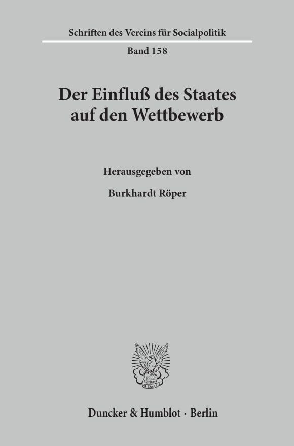 Cover Der Einfluß des Staates auf den Wettbewerb