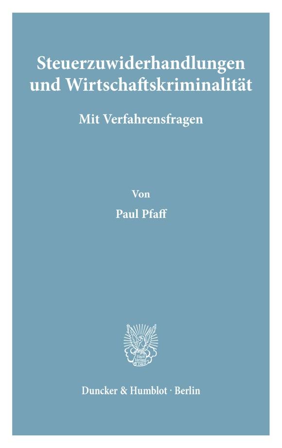 Cover Steuerzuwiderhandlungen und Wirtschaftskriminalität