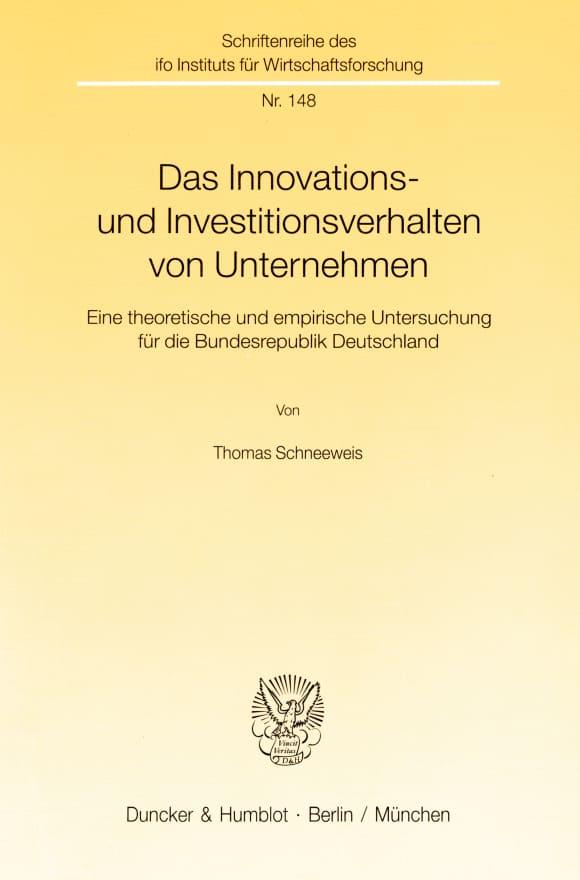 Cover Das Innovations- und Investitionsverhalten von Unternehmen