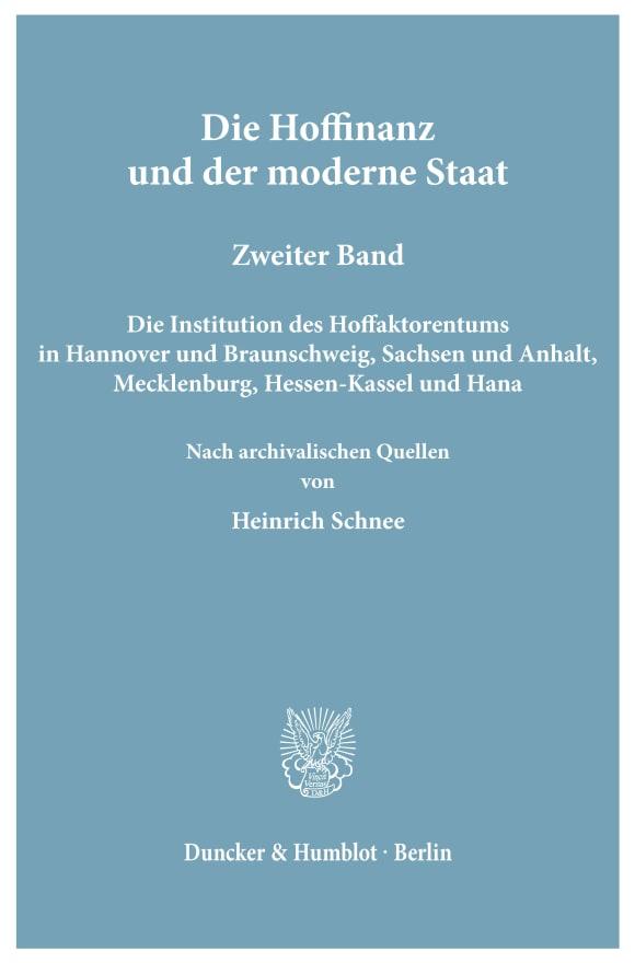 Cover Die Hoffinanz und der moderne Staat