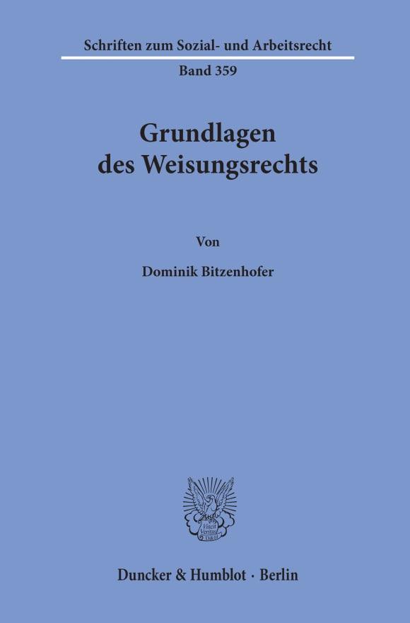 Cover Grundlagen des Weisungsrechts