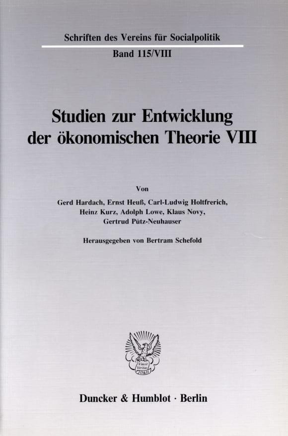 Cover Deutsche Nationalökonomie in der Zwischenkriegszeit
