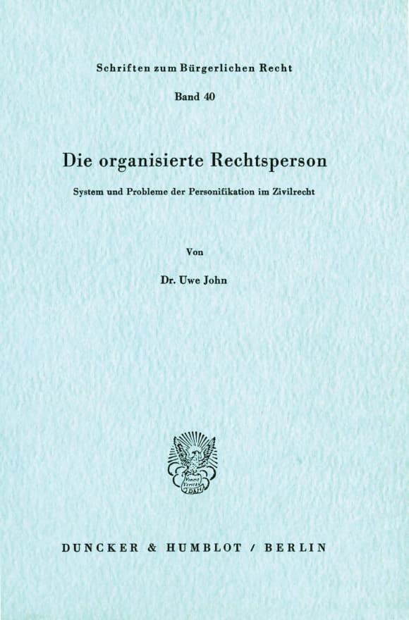 Cover Die organisierte Rechtsperson