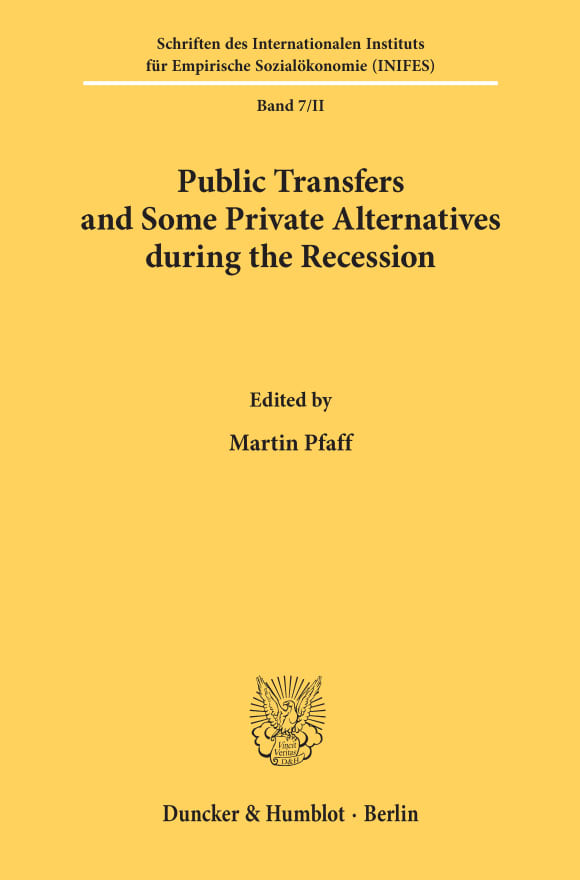 Cover Public Transfers and Some Private Alternatives during the Recession