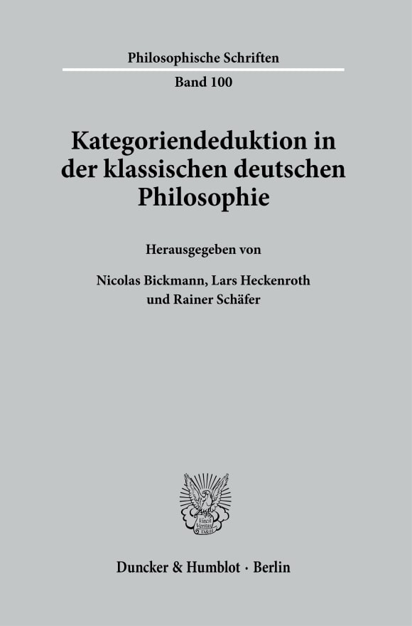 Cover Kategoriendeduktion in der klassischen deutschen Philosophie