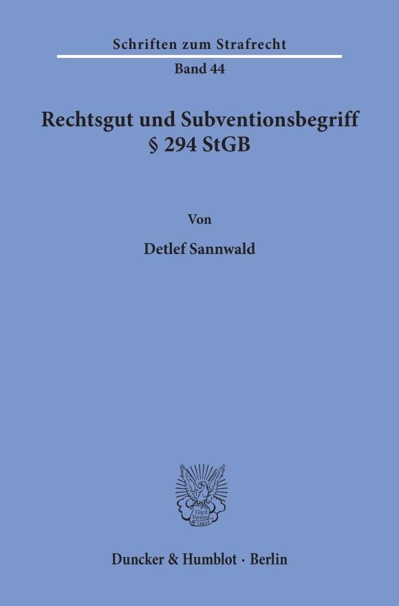 Cover Rechtsgut und Subventionsbegriff § 294 StGB