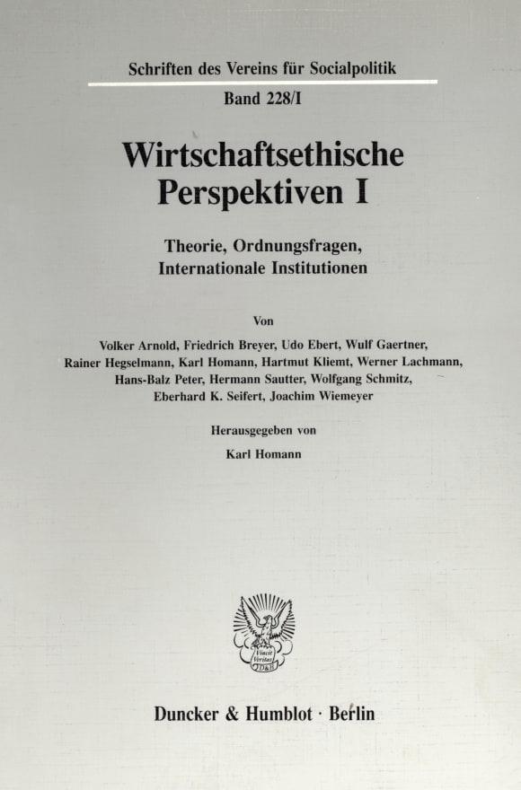 Cover Wirtschaftsethische Perspektiven I