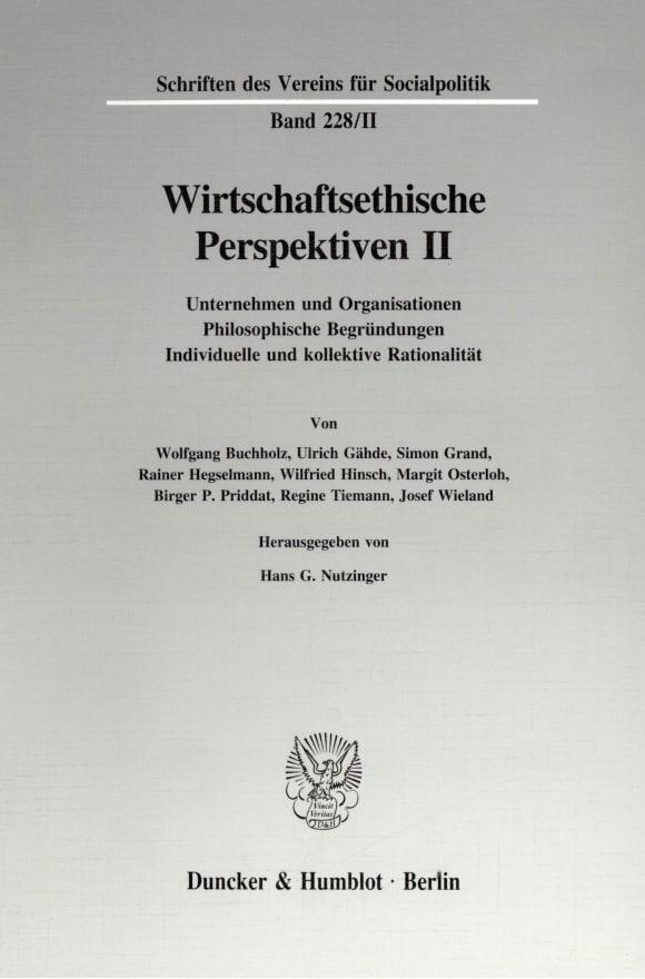 Cover Wirtschaftsethische Perspektiven II