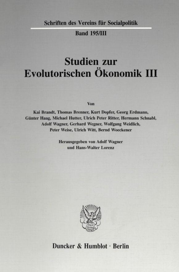 Cover Studien zur Evolutorischen Ökonomik III