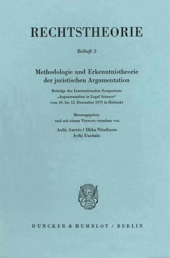 Cover Methodologie und Erkenntnistheorie der juristischen Argumentation