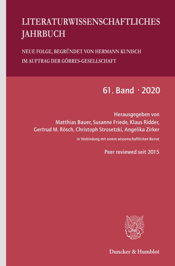 Cover Literaturwissenschaftliches Jahrbuch (LJB 1/2020)