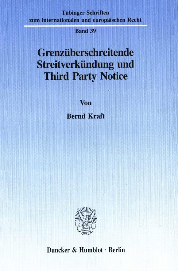 Cover Grenzüberschreitende Streitverkündung und Third Party Notice