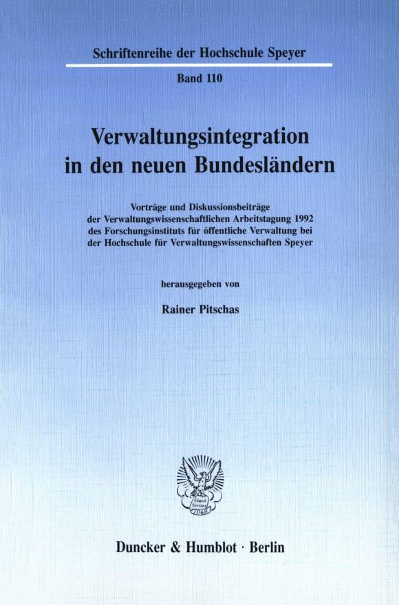 Cover Verwaltungsintegration in den neuen Bundesländern