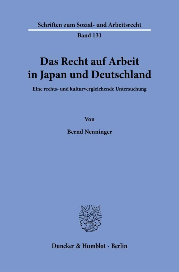 Cover Das Recht auf Arbeit in Japan und Deutschland