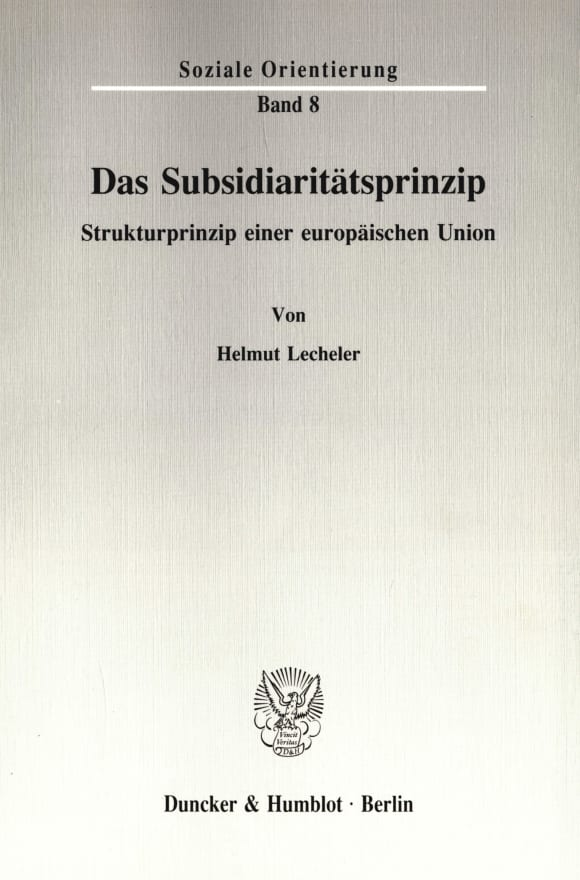Cover Das Subsidiaritätsprinzip