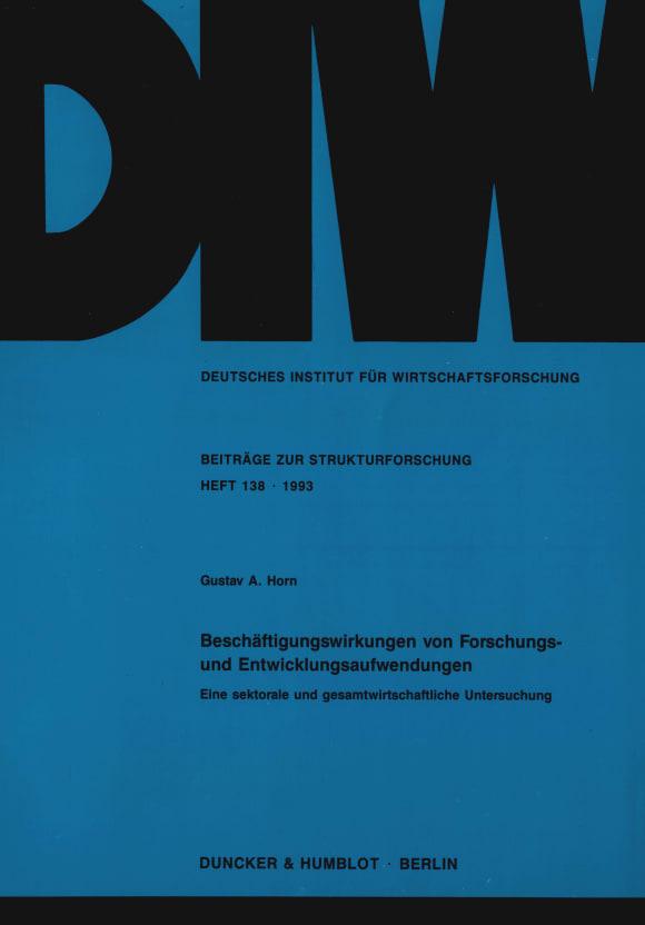 Cover Beschäftigungswirkungen von Forschungs- und Entwicklungsaufwendungen