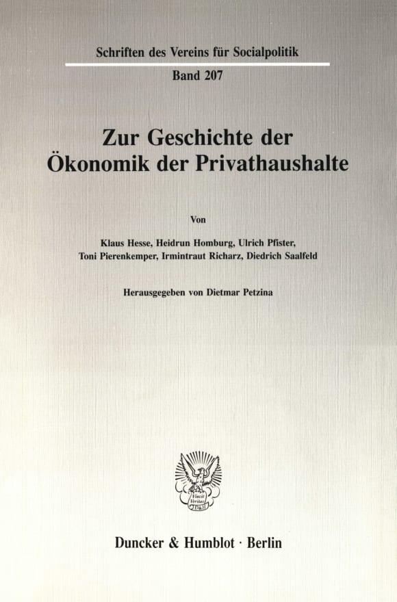Cover Zur Geschichte der Ökonomik der Privathaushalte