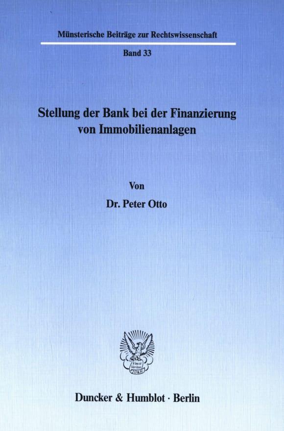 Cover Stellung der Bank bei der Finanzierung von Immobilienanlagen