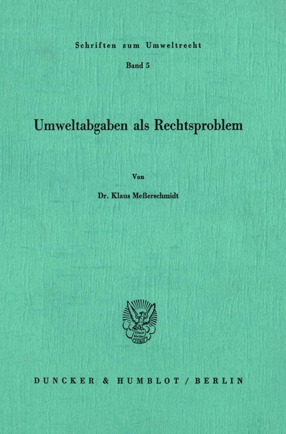 Cover Umweltabgaben als Rechtsproblem